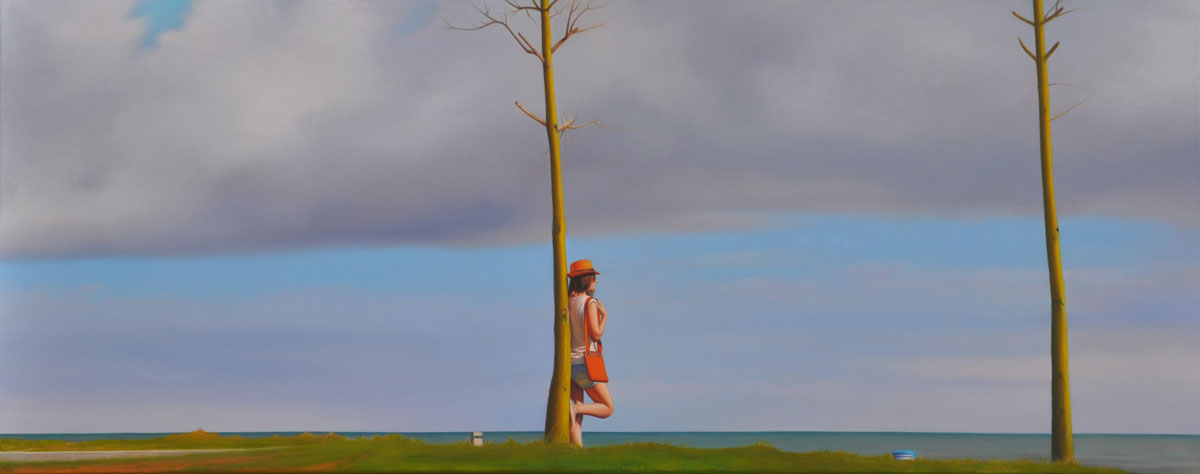 TWO TREES oil on canvas 120cm x 40cm 2015