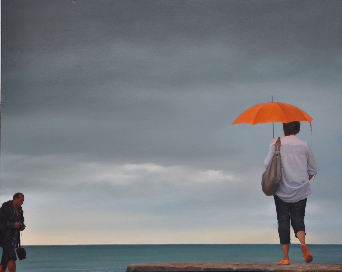ORANGE PARASOL oil on canvas 100cm x 80cm 2012