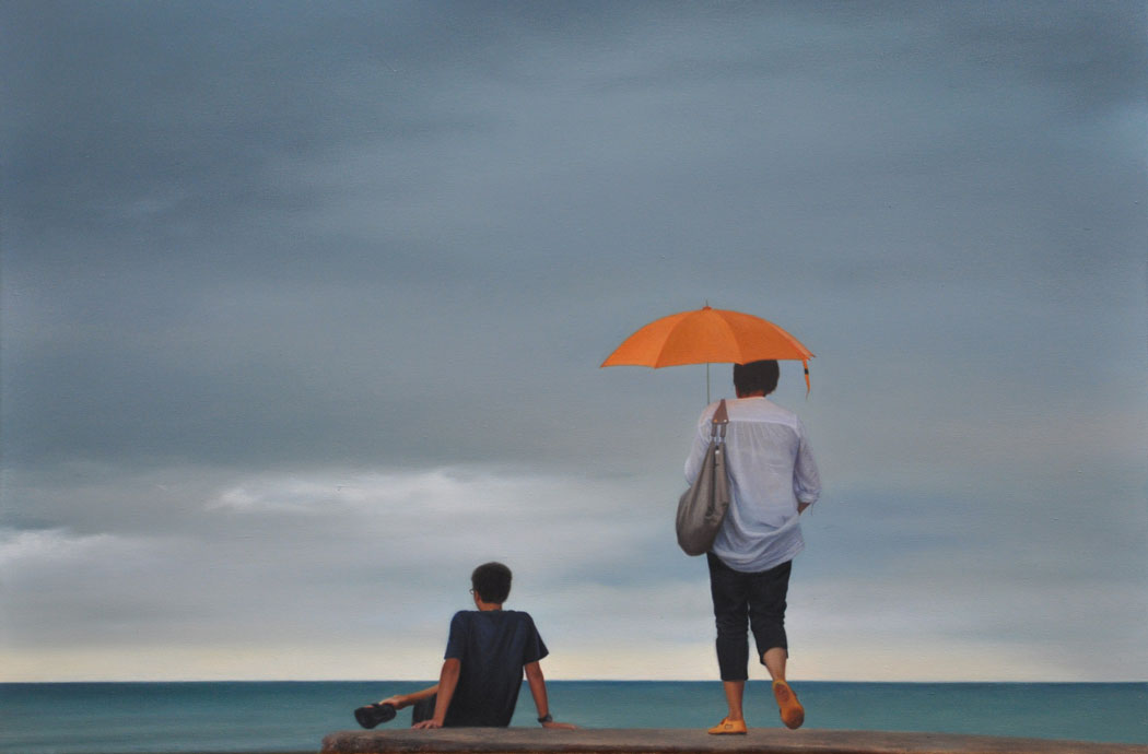 ORANGE UMBRELLA oil on canvas 90cm x 60cm 2012